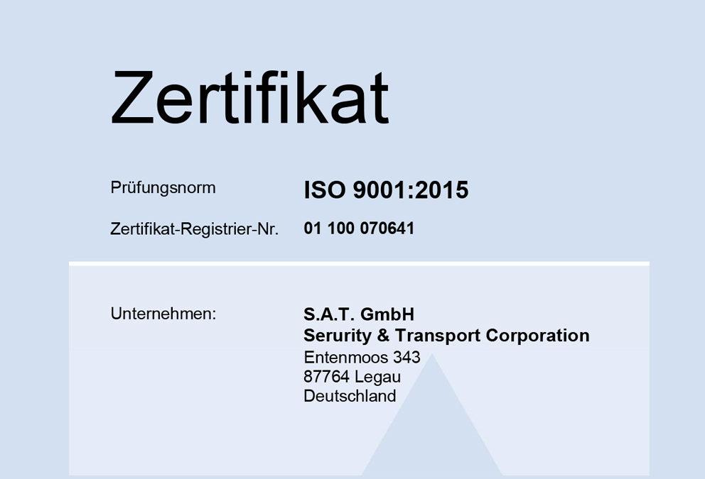 SAT Security erhält erneut ISO 9001:2015 Zertifizierung